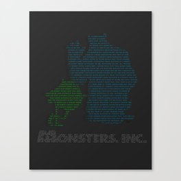 Monsters Inc Typography Canvas Print
