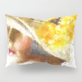 Retro Woman in Vintage Hat Pillow Sham