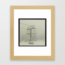 Ski Lift Fog Framed Art Print