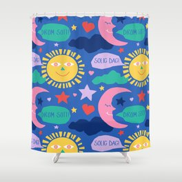 Swedish Folk Celestial in Country Blue Shower Curtain