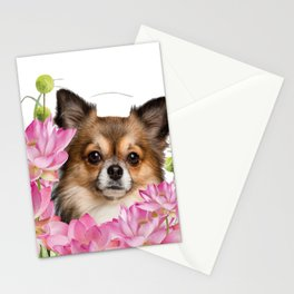 Chihuahua Dog in Lotus Buddha Flower Field Stationery Cards
