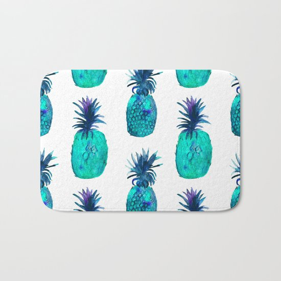 Mint pineapples || watercolor Bath Mat