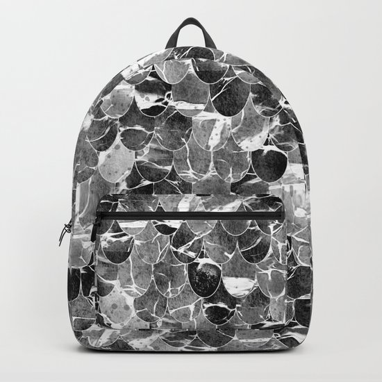Black and White Abstract Mermaid Scales Pattern Backpack