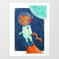 space cat Art Prints featuring Space Cat by Stephanie Fizer Coleman