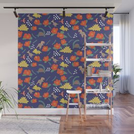Dinosaurs in camellia garden Wall Mural