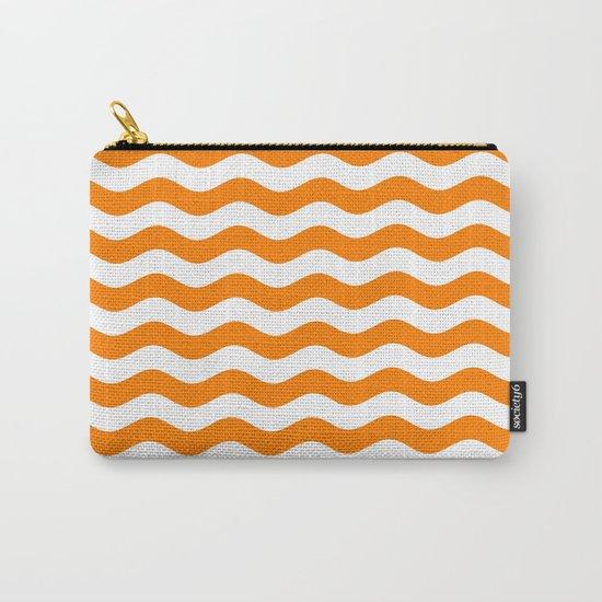 Wavy Stripes (Orange/White) Carry-All Pouch