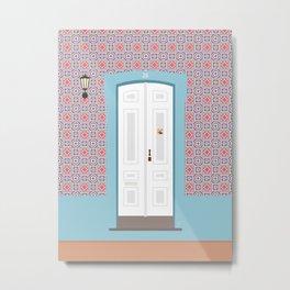 Portugal Tile Door Metal Print