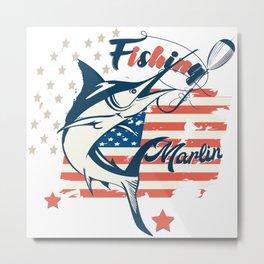 Design with marlin fish on USA flag background Metal Print
