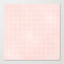 Pink Coral Grid Canvas Print