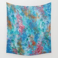 coral Wall Tapestries featuring coral by Stella Joy