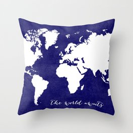 The world awaits in navy blue Throw Pillow