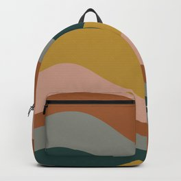 Retro Waves Minimalist Pattern 2 in Rust, Blush Pink, Gray, Navy Blue, and Mustard Gold Backpack
