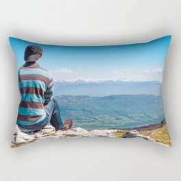 Rear view men looking at Alps mountain view after hiking Rectangular Pillow