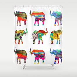 Bright & Bold Elephant Print Shower Curtain