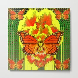 ABSTRACT ART DECO MONARCH BUTTERFLIES YELLOW-GREEN Metal Print