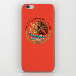 Close up of the Seal from the flag of Mexico on Adobe red background iPhone Skin