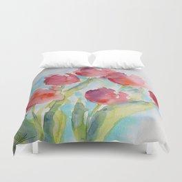 Tulips (watercolor) Duvet Cover
