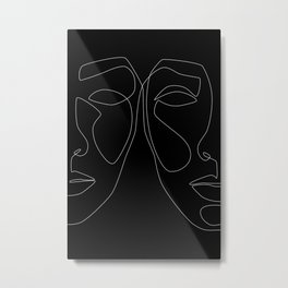 White line couple Metal Print