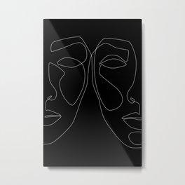 White line couple Metal Print