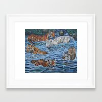 tigers Framed Art Prints featuring Tigers by Mbeng Pouka