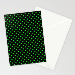 Polka dots Green dots over black Stationery Cards