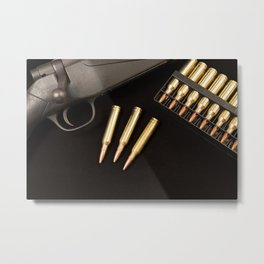 Rifle and 7mm Bullets Metal Print