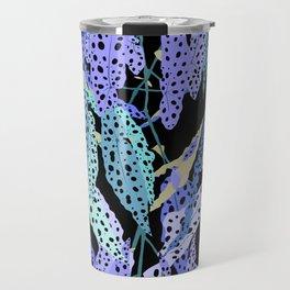 Polka Dot Begonia Leaves in Black + Blue Travel Mug