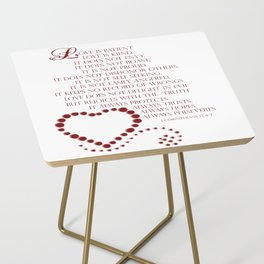 Love is patient love is kind 1 Corinthians 13: 4-7 Side Table