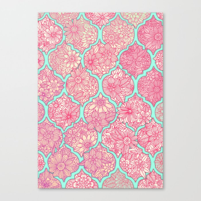 Moroccan Floral Lattice Arrangement in Pinks Canvas Print