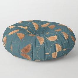 Copper Circles Art Deco on Emerald Floor Pillow