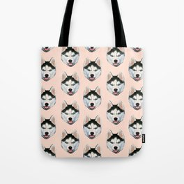 cute puppy husky dog pattern Tote Bag