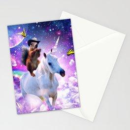 Cowboy Squirrel Riding Unicorn Stationery Cards