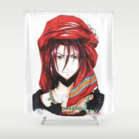 iwatobi Shower Curtains featuring Free! Iwatobi Swim Club Rin by Mistiqarts