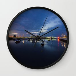 Pont y Ddraig Bridge and Harbour Wall Clock