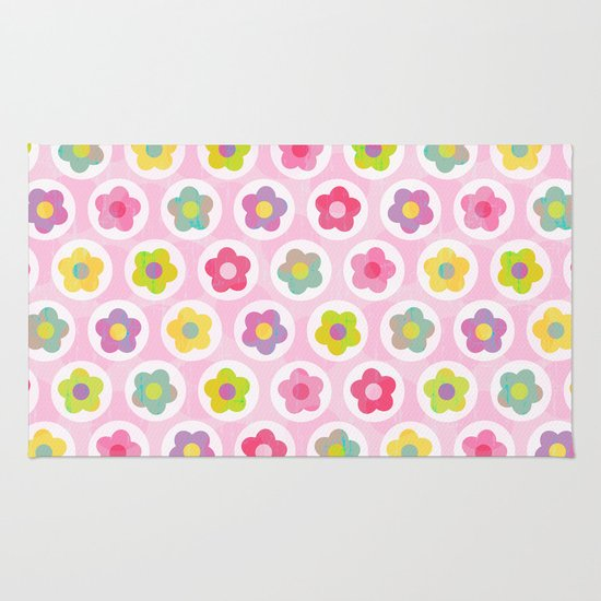 LAZY DAISY PINK Rug By Daisy Beatrice