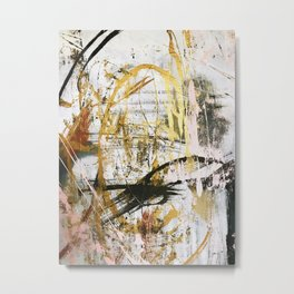 Armor [9]:a bright, interesting abstract piece in gold, pink, black and white Metal Print