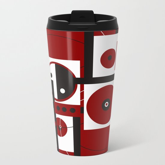 Geometric/Red-White-Black 2 Metal Travel Mug