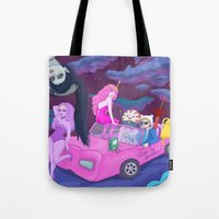 lumpy space princess Tote Bags featuring Adventure in lumpy space by Sara Meseguer