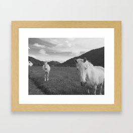 Happy White Horses - Black and White - Sun Valley, Idaho Framed Art Print