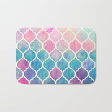 Rainbow Pastel Watercolor Moroccan Pattern Bath Mat