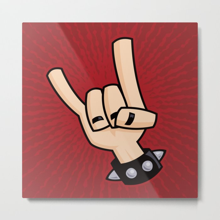 Heavy Metal Devil Horns Hand Sign Metal Print By Fizzgig Society6