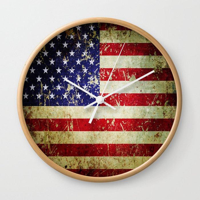 Grunge Vintage Aged American Flag Wall Clock