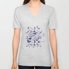 Nostalgic Pastel Butterfly And Flower Pattern Unisex V-Neck
