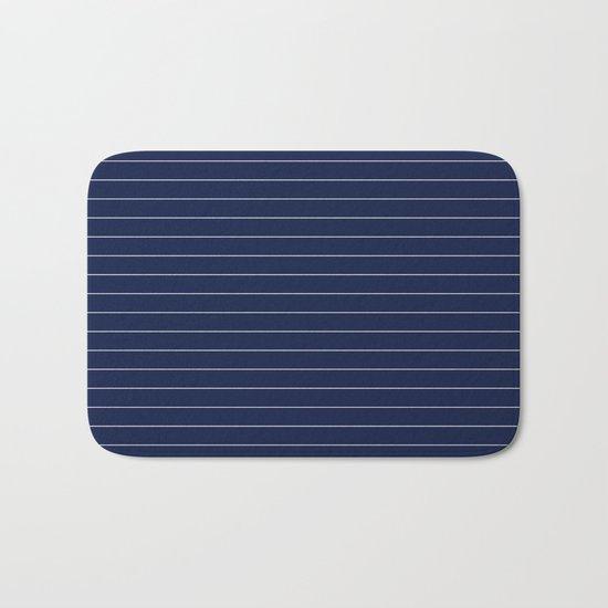Indigo Navy Blue Pinstripe Lines Bath Mat