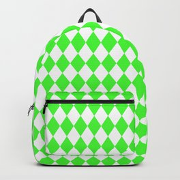 Bright Neon Green and White Harlequin Diamond Check Backpack