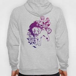 Mini Poodle with Peonies | Magenta & Purple Ombré Hoody