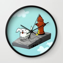 Dog in the sky peeing - Illustration Wall Clock