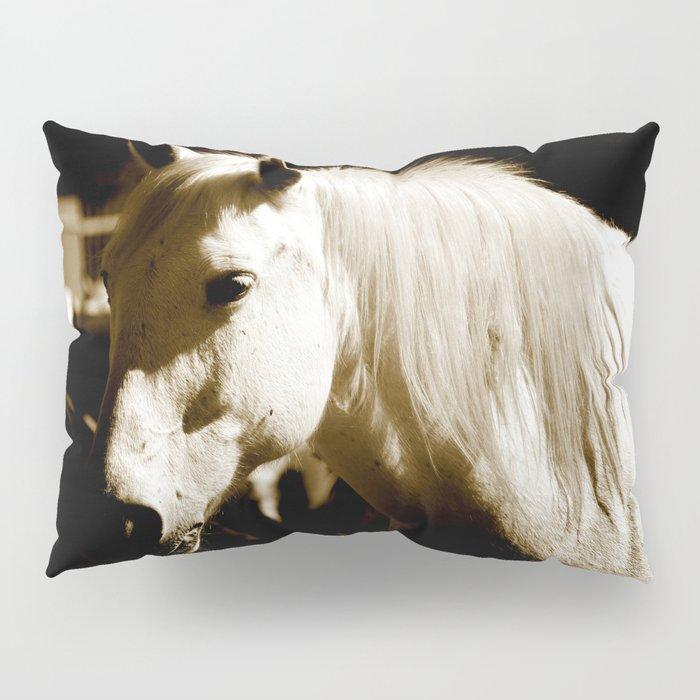 White Horse-Sepia Pillow Sham
