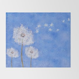 flying dandelion watercolor painting Throw Blanket