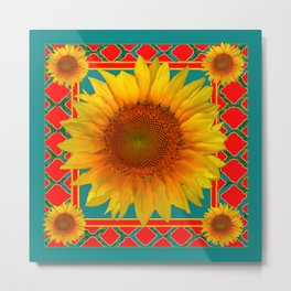 DECORATIVE RED-TEAL  DECO YELLOW SUNFLOWERS Metal Print